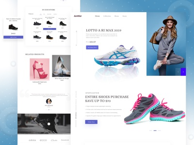 Lotto-Landing Page shop minimal colorful photography google apple microsoft shoes landing page shoes lotto ecommerce dribbble best shot branding 2019 trend web landing page illustration website brand ux ui typography design clean