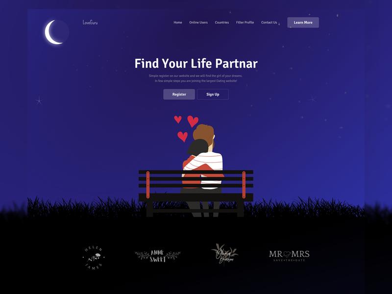 Dating website exploration interface dating love couple dating app dating website dailyui illustration minimal vector 2019 trend landing page ui web website clean dribbble best shot ux typography design