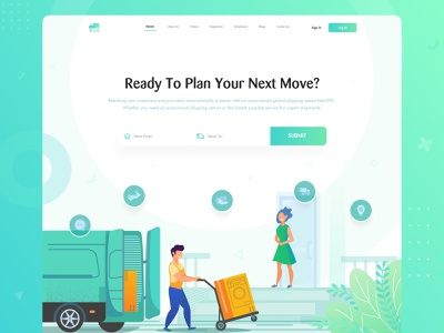 Mover Company Homepage web design and development web design landingpage landingpagedesign gradient design gradient icon gradient courier illustraion company mover ui landing page web website dribbble best shot ux clean typography design