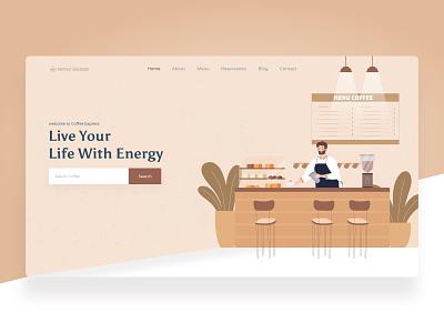 Coffee Express Header brand illustration landing page web website dribbble best shot ux clean typography design