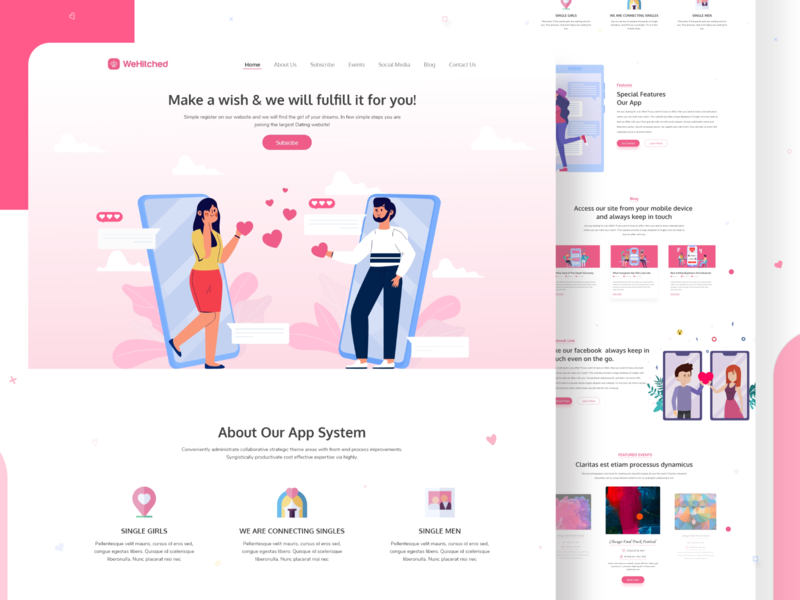 WeHitched Dating App Landing Page app ui app landing app landing template app landing page dailyui applandingpage landing page design landing page typography clean vector illustration datingapp dating logo dating website dating app
