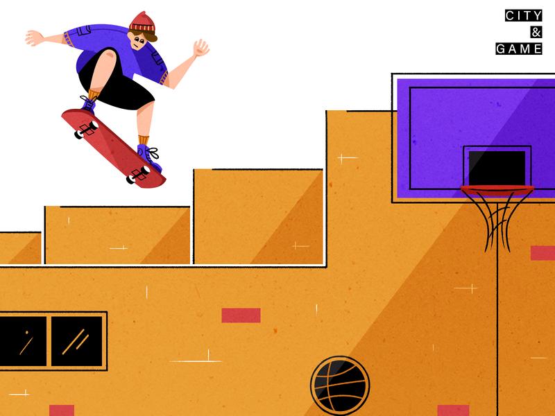City&Game city game skateboard basketball design colour illustration