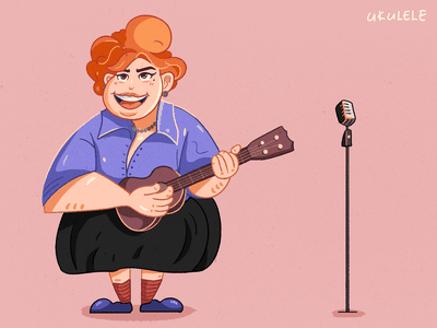 Girl playing the ukulele playing microphone music girl ukulele colour illustration