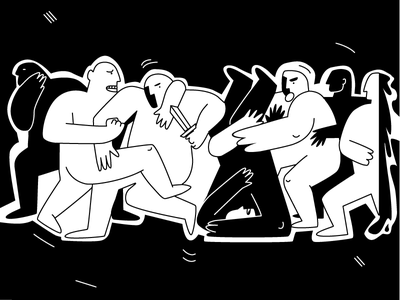 Stay savage! men savage abstract black person fight illustration