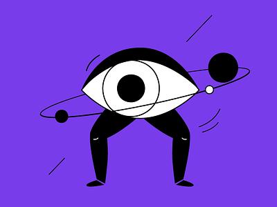 In the spotlight active surreal media black violet spotlight eye look illustration