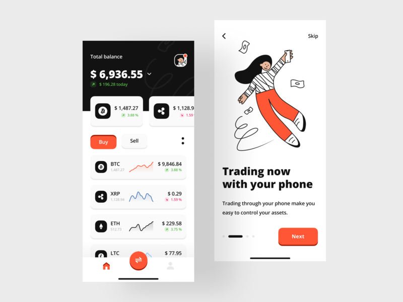 Trading Mobile App chart products mobile walkthrough finance money cryptocurrency illustration android ios app asset trade trading