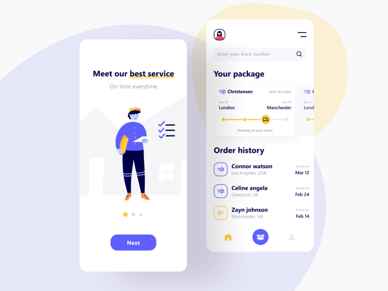 On-time Everytime interface ux uiux ui tracker splash shipping shipment product design package mobile logistic ios illustration delivery character box app