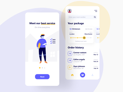 Shyft - Delivery App interface ux uiux ui tracker splash shipping shipment product design package mobile logistic ios illustration delivery character box app