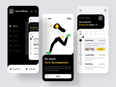 Loona - Mobile App scheduler e-learning skill schedule mobile online course course walkthrough lesson icon simple app flat minimal illustration uiux ios ux ui