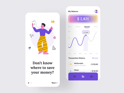 Wendy - Ewallet App card banking bank transaction history transaction chart design app flat illustration ios ux ui financial wallet ewallet interface money statistic
