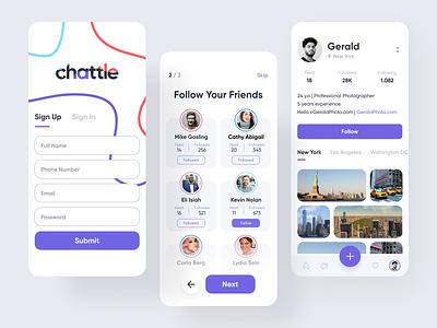 Chattle App gallery clean minimalist ios ux uiux ui user experience user interface profile follow social networking app social app app social network network social interface sign in signup