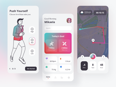 Vito - Exercise App calories fitness fit sleep tracker run tracker heart rate flat minimalist mobile apps timer ios clean simple gradient illustration sport forecast tracker sport exercise app
