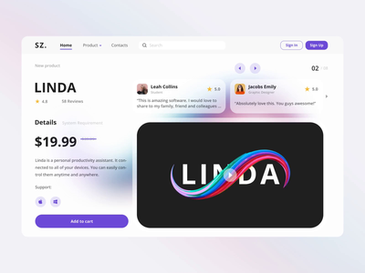 Linda - Productivity Assistant website product software website design web design user experience assistant app gradient minimalist landing page animation clean simple ux ui task management productivity user interface