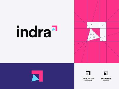 Hello indra pink blue minimal design flat geometric grid simplicity simple vector mark illustration identity brand branding logo