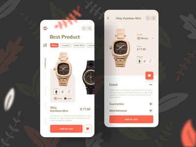 Wooch App woodcut natural product natural material recycle product woods recycling maple ebony shopping app ecommerce woodworking woodwatch watches nature wooden eco ios app wood