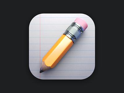 3D Pencil paper realistic notes big sur icon pencil 3d