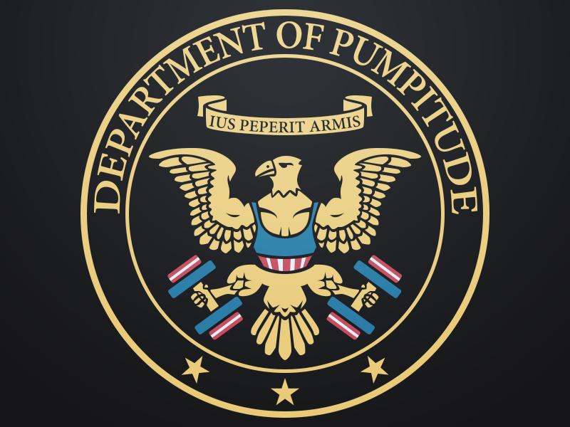Pumpitude eagle seal weights usa department shirt top logo