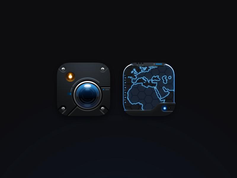 Scifi icons v2 realistic maps camera icons ios scifi