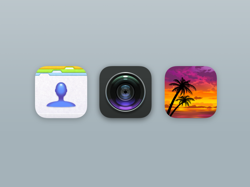 Icons Part II phone camera contacts realistic retro ios icons
