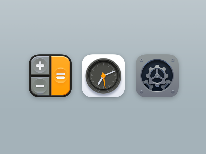 More Retro Icons settings clock calculator retro realistic ios iphone icons