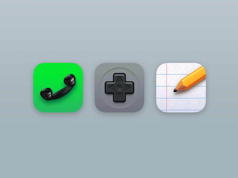 Icons Part 6 pencil nes game center phone notes realistic iphone icons