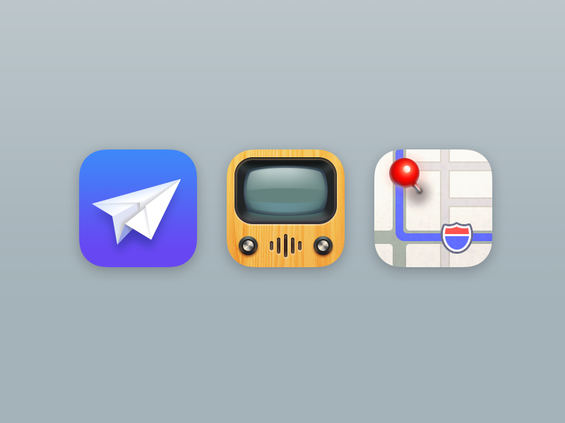 Icons Part 7 glyph airplane mail tv maps realistic iphone icons