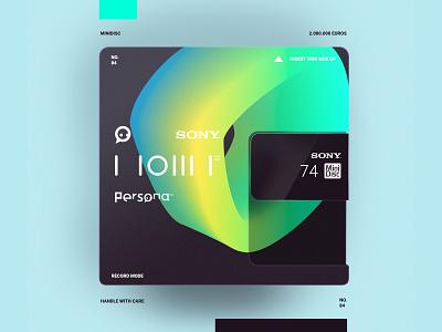 MiniDisc photoshop minidisc sony logo typography illustration simple minimal branding