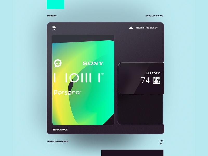 MiniDisc option 2 sony photoshop minidisc typography logo illustration simple minimal branding