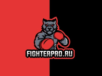 FighterPro icon branding logo vector cybersport wolf fighter