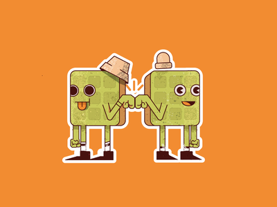 Waffle Brothers design character ilustración 2d illustration vector