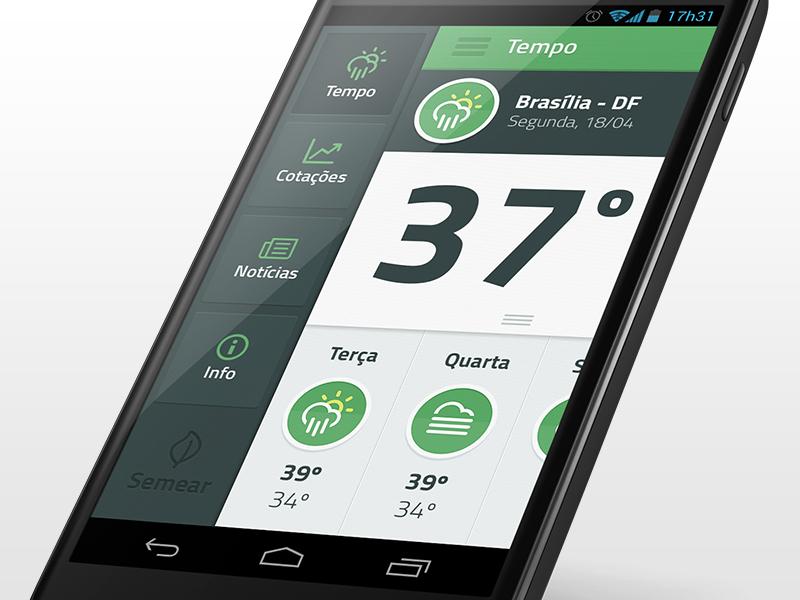 Menu of Semear App ui ux mobile android app