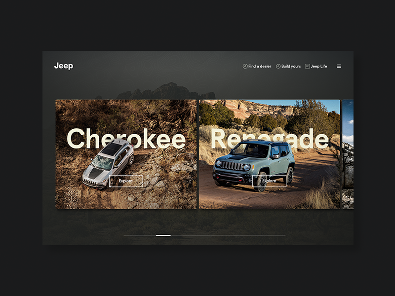 Jeep visual concept navigation interactive web concept visual car jeep