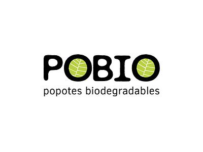 POBIO popotes ecological biodegradable straw typography design vector illustration branding logo