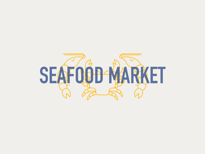 Seafood Market fish crab shrimp fresh food seafood clean geometric design design illustration vector branding logo