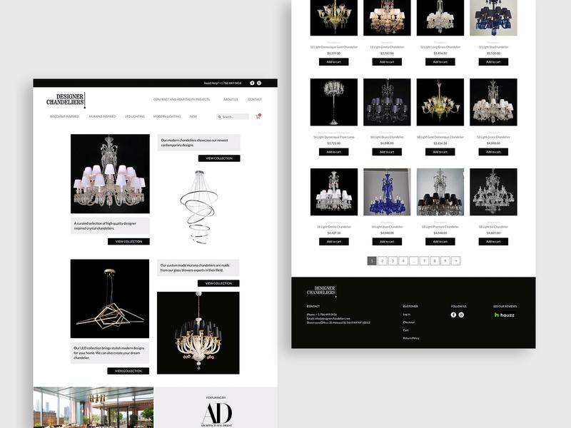 Designer Chandeliers store lighting ecommerce design web ux ui