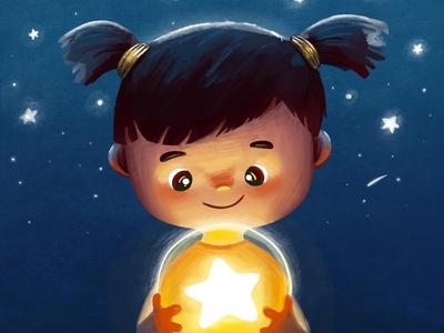 Magic star book girl dribbble procreate illustration childrens illustration childrens book children