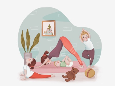 yoga time love art illustrator procreate book book illustration children book illustration girl children illustration