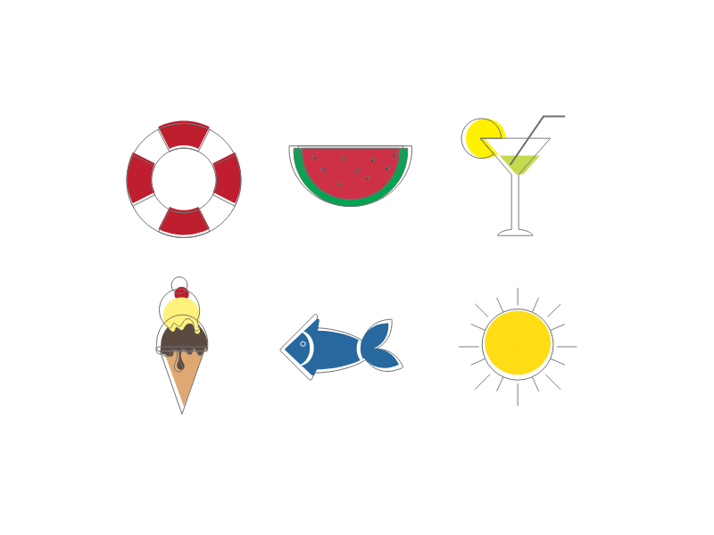 Daily UI #055 – Icon Set beach icons beach challenge uidesign ui summer set icon 055 dailyui