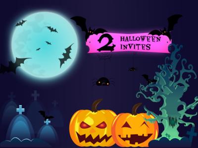 Halloween Illustration - Dribbble Invites halloween design 2 invites invitation giveaway invite giveaway dribbble invites pumpkin halloween vector illustration