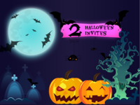 Halloween Illustration - Dribbble Invites halloween design 2 invites invitation giveaway invite giveaway dribbble invites pumpkin halloween vector illustration