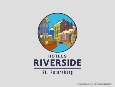REVERSIDE HOTELS LOGO flat logo vector branding illustration design artgazm