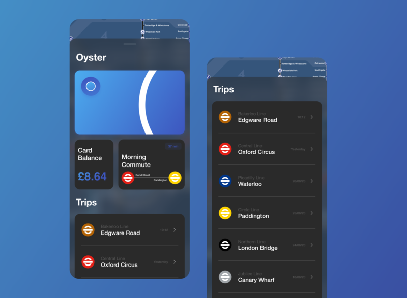 Oyster Card tfl public transport train transportation wallet payment travel mobile london uidesign ios ux ui design