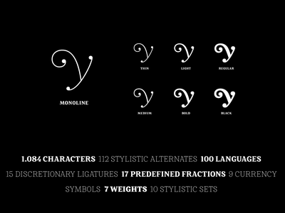 Mireille - Monoline to Black croissant french branding fonts typography type styles weights swashes thin light medium bold black regular monoline