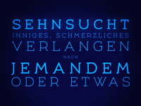 Sehnsucht. Type setting with Umba Sans.