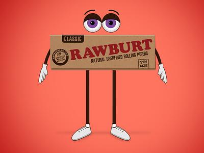 Rawburt character design smoke break rolling papers raw cartoon characters character illustration