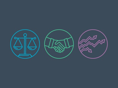 Legal, Business and Risk icons legal business risk