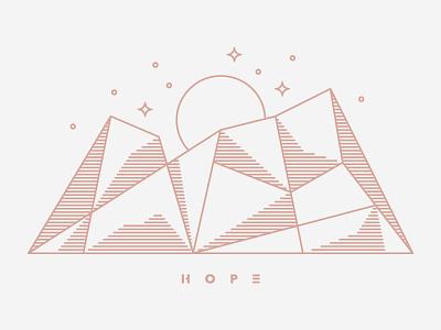 H O P E stars moon mountain line work hope