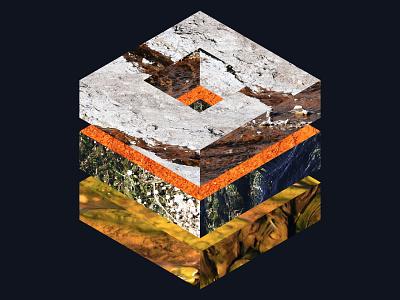 C U B E geometric texture collage photo cube