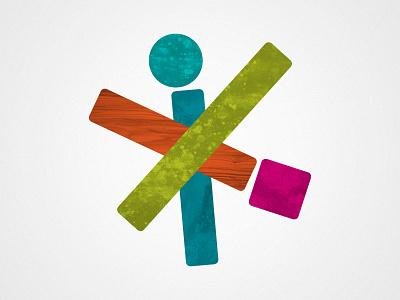 Building Blox logo identity shapes woodgrain stacked asymmetrical kids children playful colorful building blocks