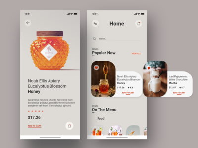 E-commerce food & drinks concept | Version #1 product page e-commerce app sweets drinks food mocha honey colors cards app visual design ux ui typography